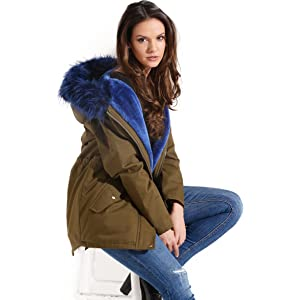 06W17 CARNATION Charcoal Fashion Women/'s Plum Red Fur Lined Winter Parka