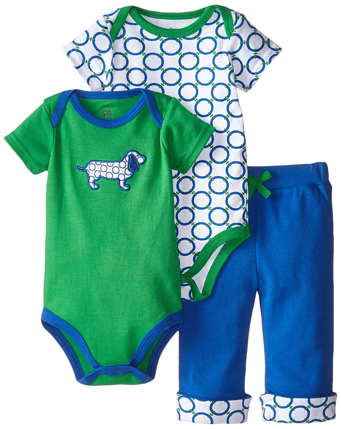 Yoga Sprout Unisex-Baby Baby Bodysuit and Pant 3 Piece Set 90151