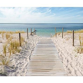 Decomonkey | Fototapete Strand Meer Blau 400x280 Cm | VLIES TAPETE |  Moderne Wanddeko | Riesen