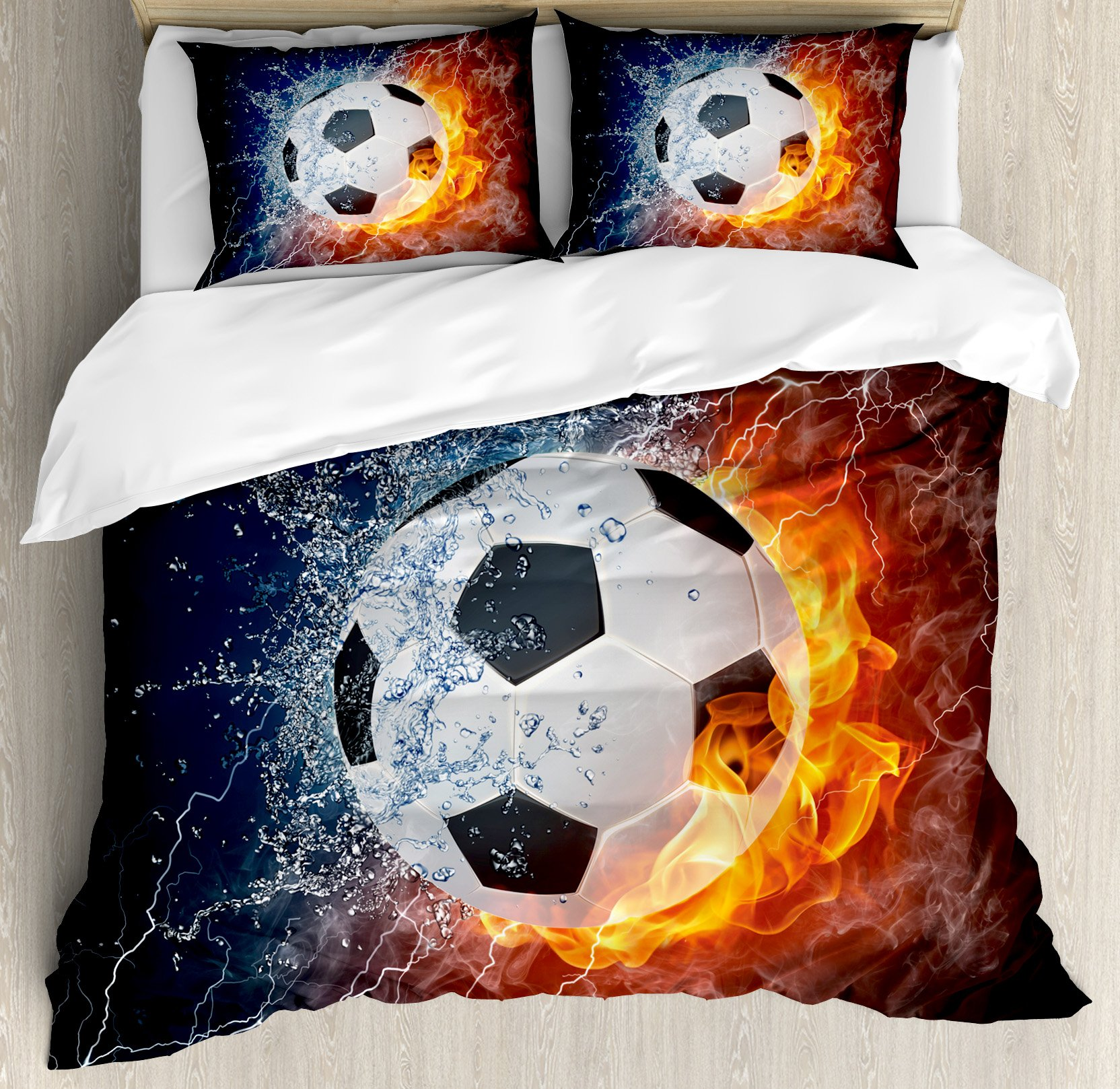 Sports Decor King Size Duvet Cover Set by Ambesonne, Soccer Ball on Fire and Water Flame Splashing Thunder Lightning Abstract, Decorative 3 Piece Bedding Set with 2 Pillow Shams