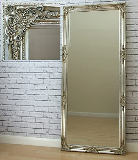 Florence LARGE VINTAGE French floor FULL LENGTH WALL MIRROR Silver ...