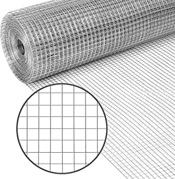 PS Direct Hardware Cloth - 24 Inch x 50 Foot Multipurpose Galvanized Mesh – 1/4 Inch Square Openings, Great for Chicken Coop, Gutter Guard Craft Projects and Garden Use, 23 Gauge, 1 Roll