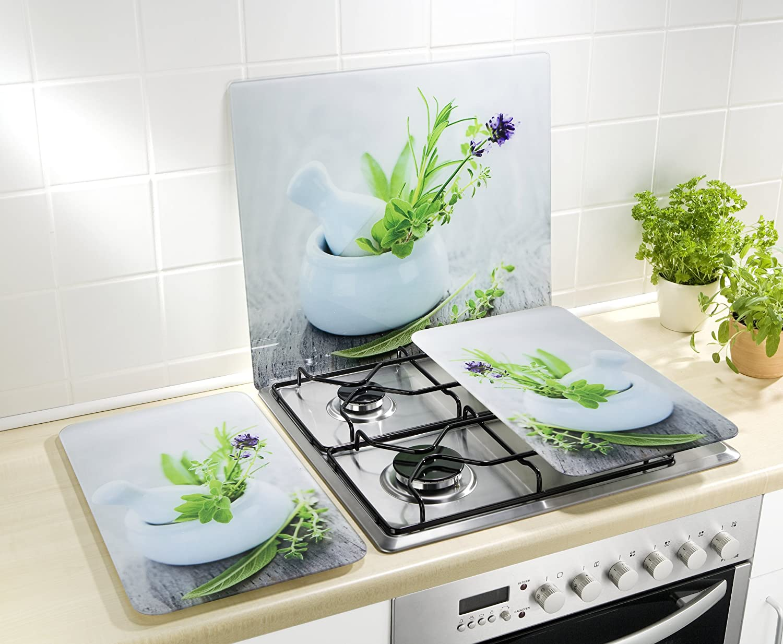 Wenko 2521399100 Cubierta de cocina Universal Jardín de Hierbas XL - juego de 2 piezas para todos los tipos de cocinas, Vidrio endurecido, 40 x ...