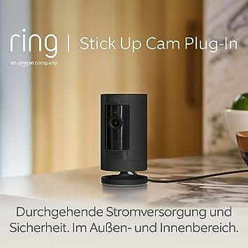 Ring Stick Up Cam Plug In Von Amazon Hd Sicherheitskamera Mit Gegensprechfunktion Funktioniert Mit Alexa Mit 30 Tägigem Testzeitraum Für Ring Protect Schwarz Alle Produkte