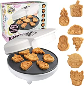 Kawaii Fun Snacks Mini Waffle Maker - 7 Different Food Emoji Designs Featuring an Avocado, Pizza, Ramen, Taco & More - The Cool Electric Waffler Gift for Amazing Kid's Breakfasts and Holiday Gifts