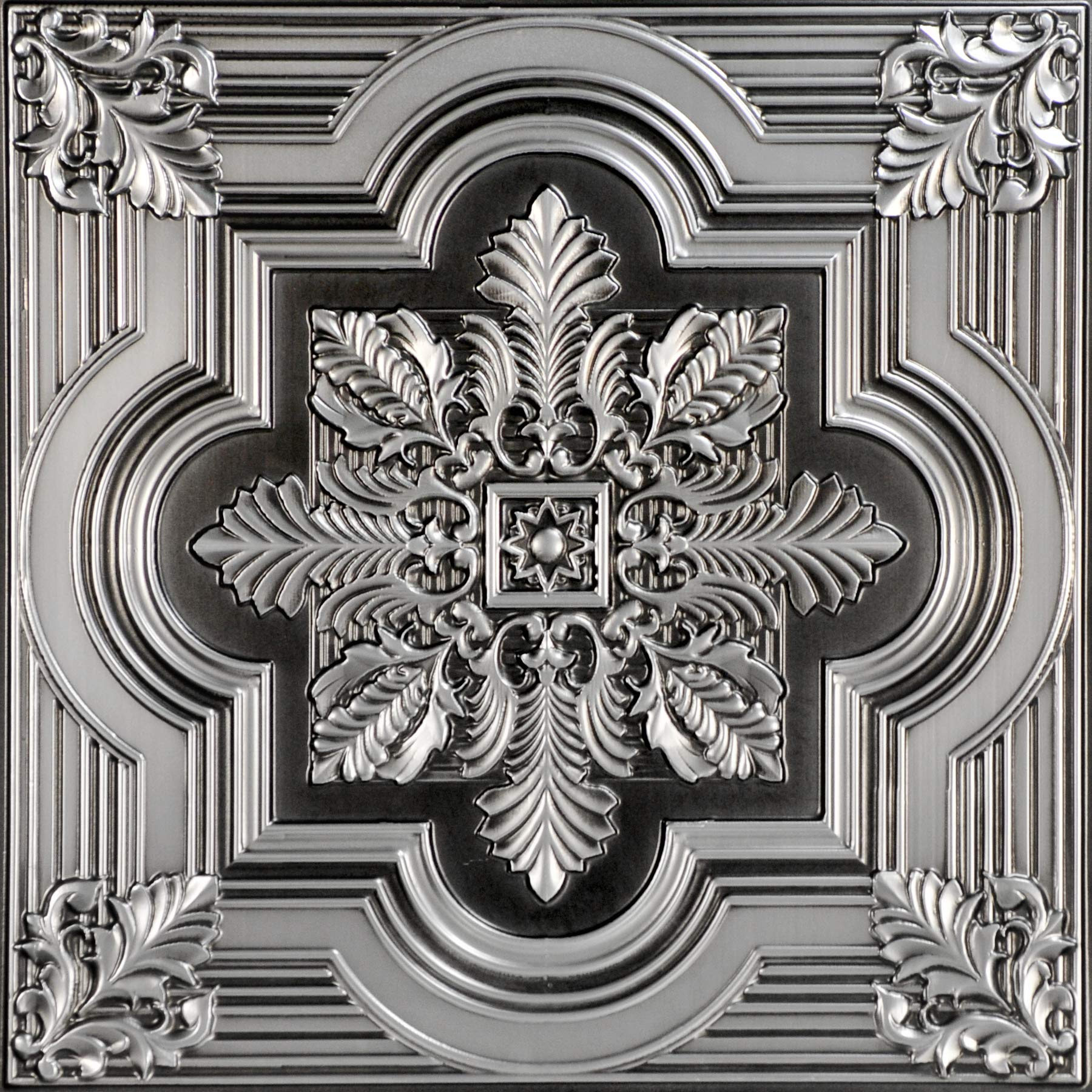 From Plain To Beautiful In Hours 206as-24x24 Ceiling Tile, Antique Silver