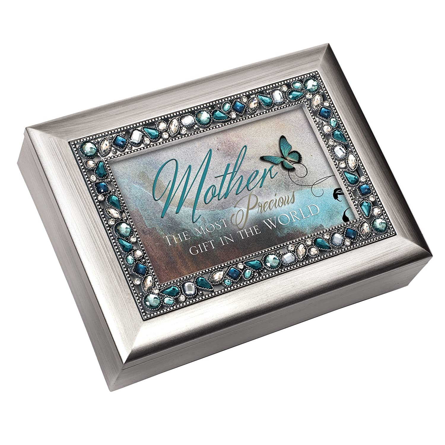 Cottage Garden Mother The Most Precious Gift in The World Brushed Silver Finish Decorative Jewel Lid Musical Music Jewelry Box - Plays Wind Beneath My Wings