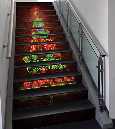 Stair Stickers Wall Stickers,13 PCS Self Adhesive,Christmas,Neon Lights Sign