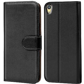 Verco Xperia Z5 Premium Hülle, Handyhülle für Sony Xperia Z5 Premium Tasche PU Leder Flip Case Brieftasche - Schwarz