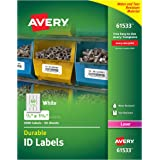 "Avery Durable White Cover Up ID Labels for Laser Printers, 0.67"" x 1.75"", Pack of 3000 (61533)"