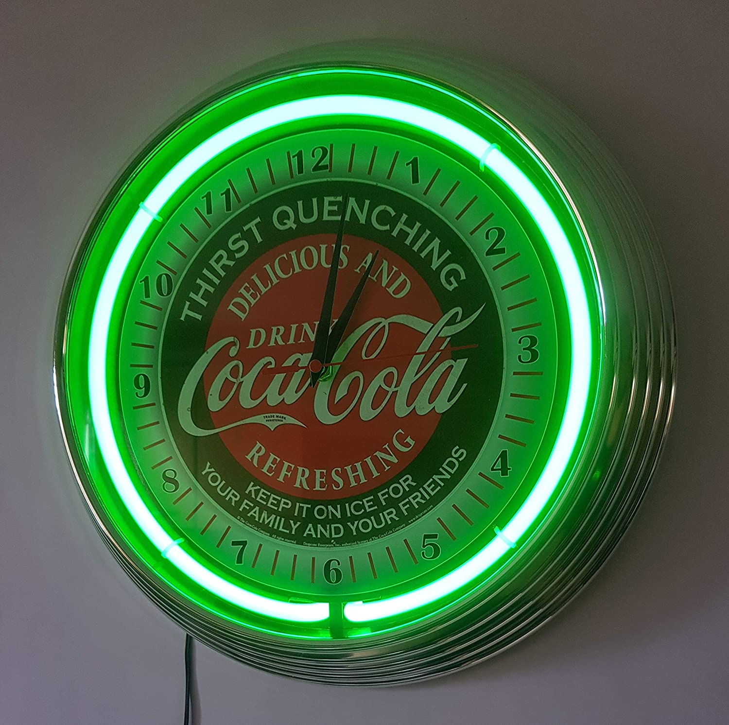 Neon Reloj Neon Clock Coca-Cola Evergreen - Sign Green Neon ...