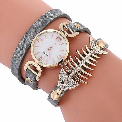 Longra Reloj ♥ (Hueso de Pescado) Las Mujeres de Cuero del Rhinestone de Cuarzo