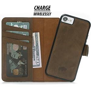 online store ebef5 730b2 Amazon.com: Burkley Case Detachable Leather Wallet Case for Apple ...