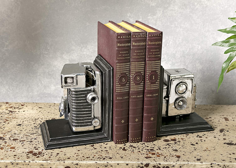 Black//Silver Expedition Vintage Camera Bookends