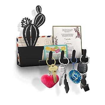 Awesome Cactus Wall Key Holder, Mail Organizer, Decorative Key Rack, 4 Key Hooks,