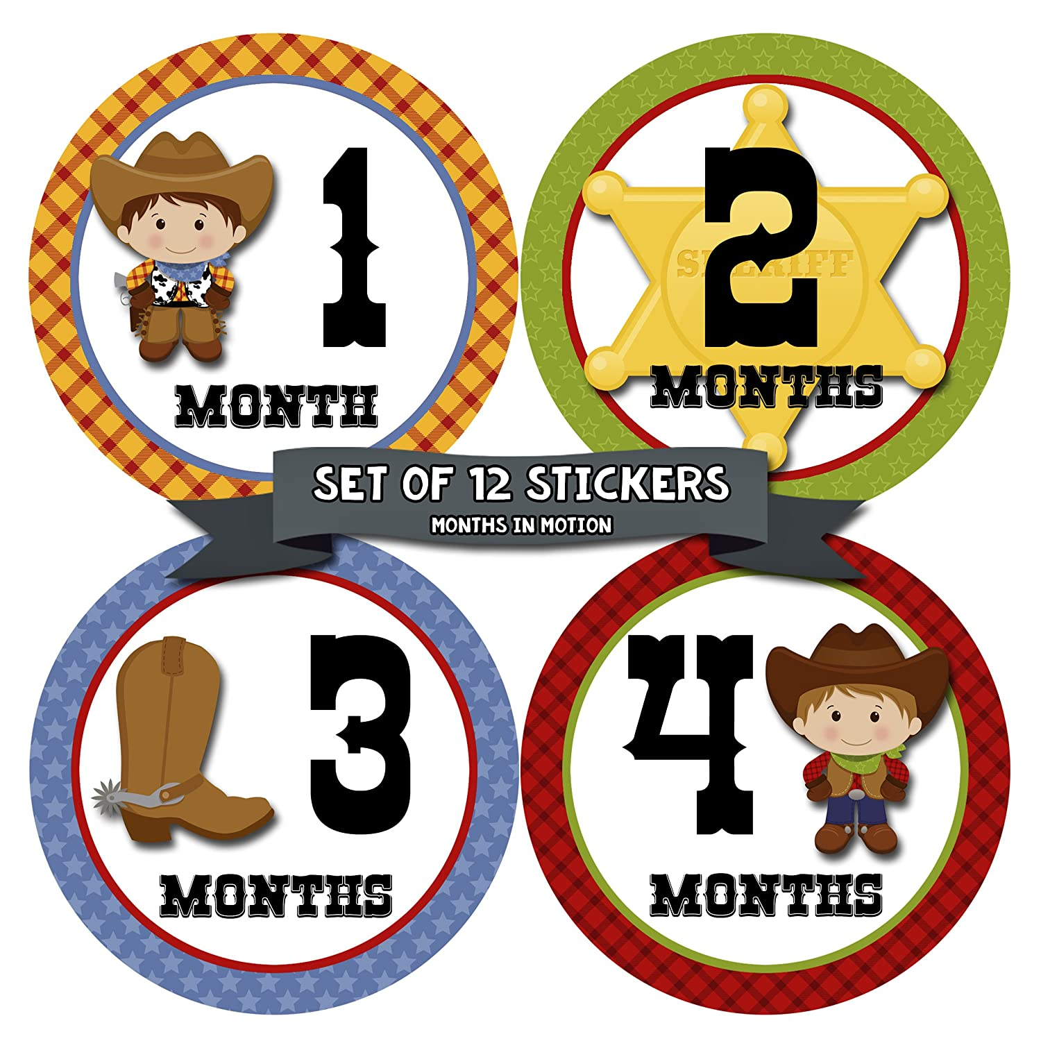 Months in Motion 340 Monthly Baby Stickers Baby Boy Months 1-12 Cowboy Western by Months In Motion B00MEGIR8A