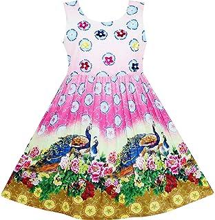 dccd8f54b Sunny Fashion Girls Dress Red Princess Costume Maxi Fancy Wedding ...