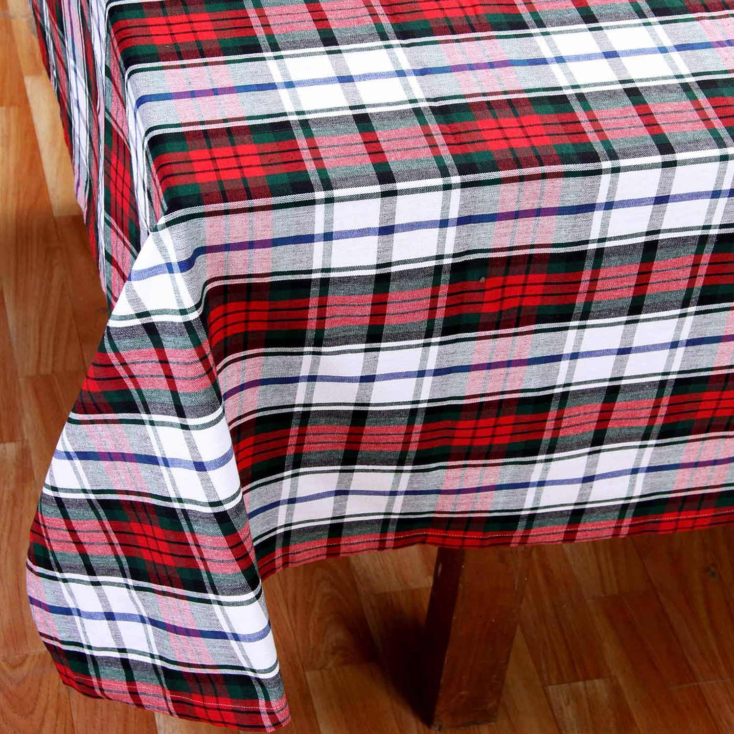 Homescapes   Christmas   Tablecloth   Macduff Tartan Check   X Mas Design    54 X 70 Inch   100% Cotton   White Green And Red Colour   Washable At Home:  ...