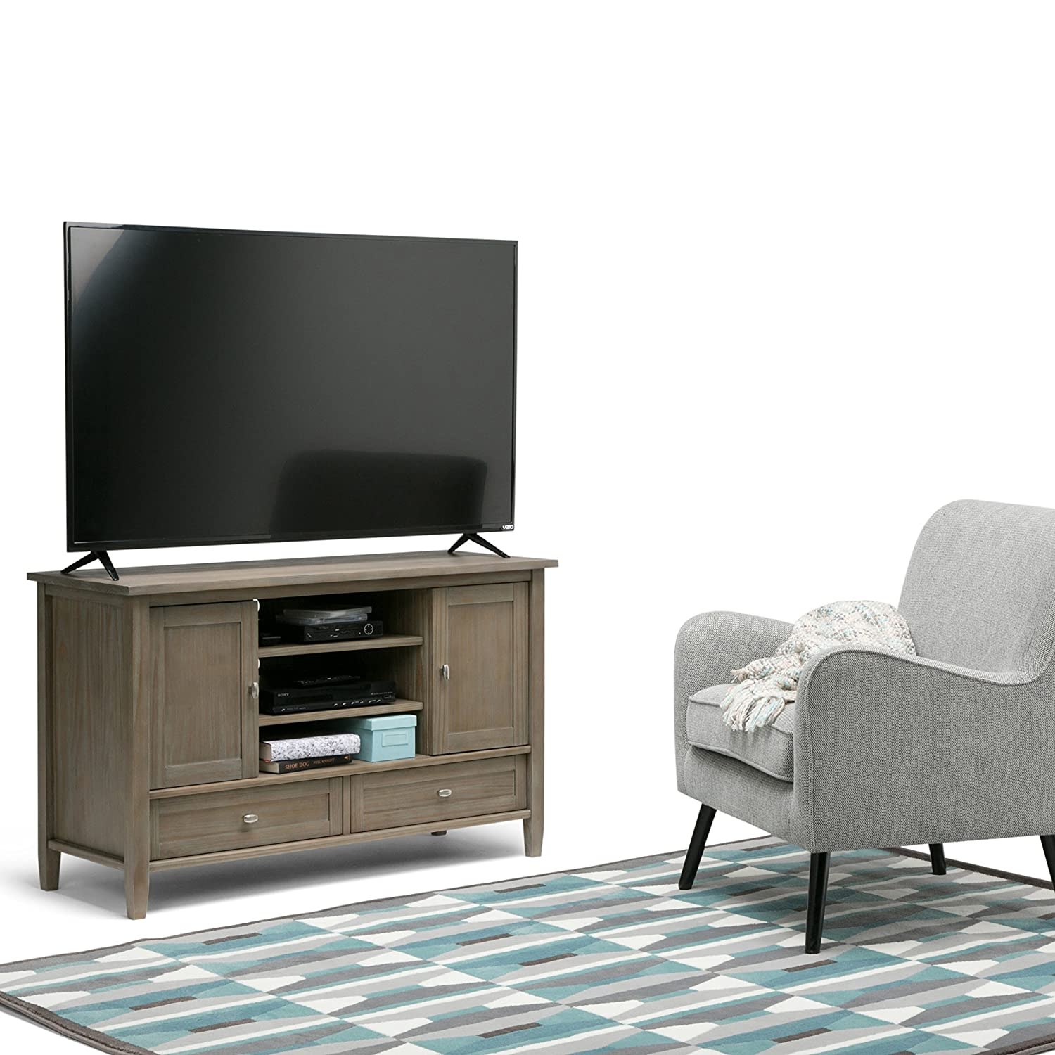 Amazon Simpli Home Warm Shaker TV Media Stand Distressed
