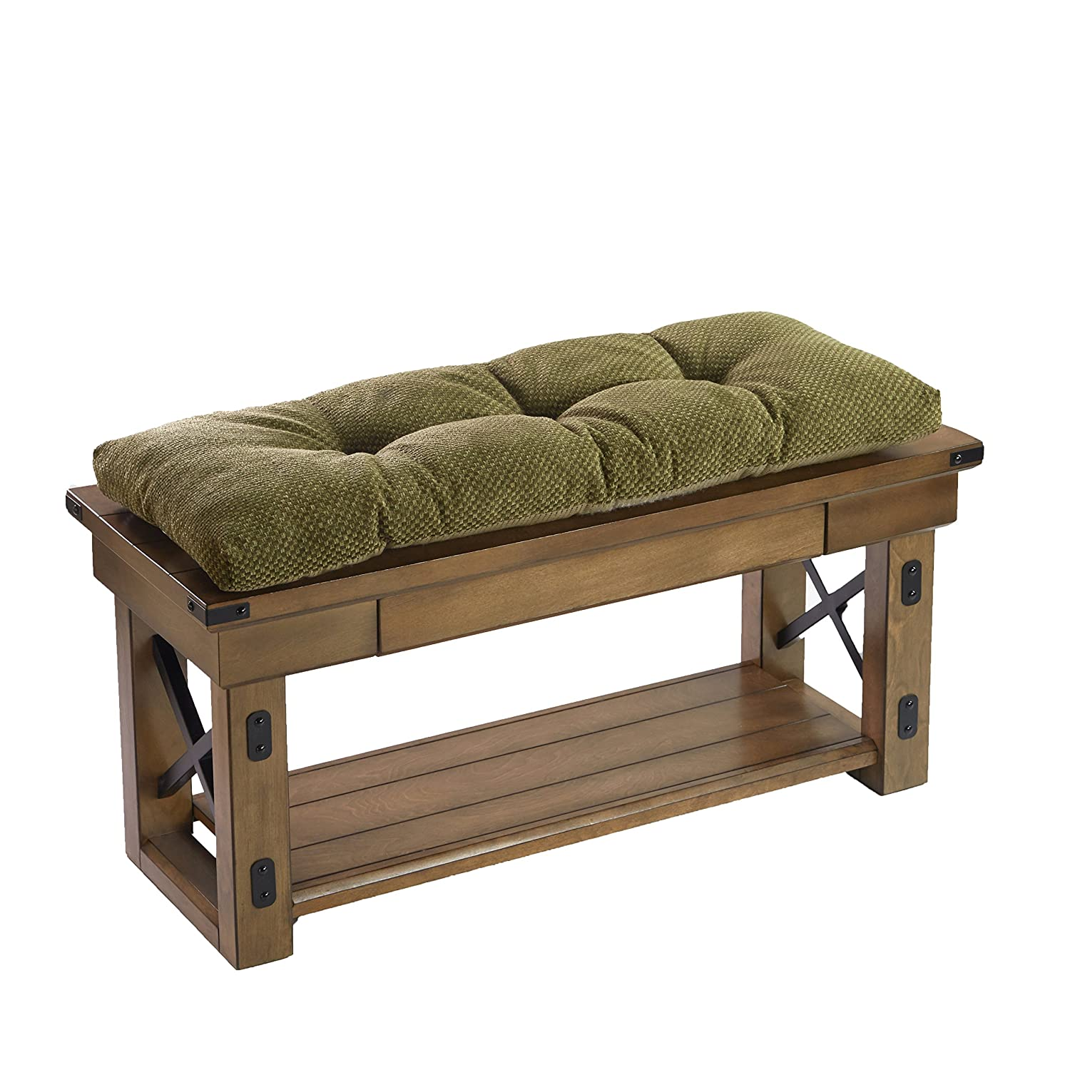 The Gripper Non-Slip Rembrandt Tufted Universal Bench Cushion, Green