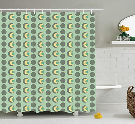 Retro Shower Curtain By Ambesonne Nested Circles Dots Half Moon Shapes Geometrical Tile Pattern