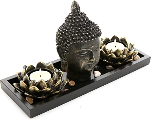 MyGift 14-Inch Feng Shui Oriental Peaceful Meditating Wooden Buddha Head Statue on Black Stand White /& Blue