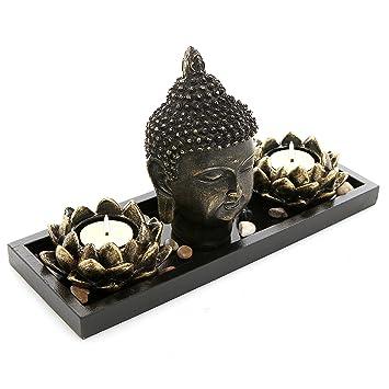 Tete De Bouddha Sculpture Zen Ensemble De Jardin W Lotus