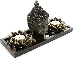 MyGift Buddha Head Sculpture Zen Garden Set w/ Lotus Tealight Candle Holders & Wooden Display Tray Black