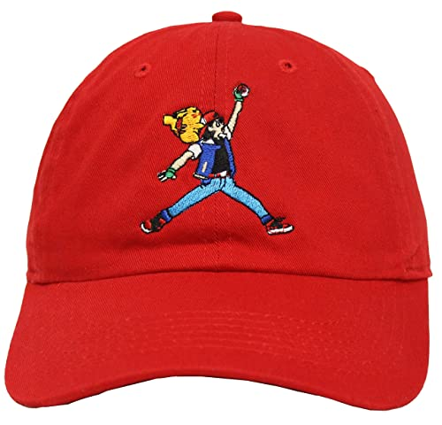 Image Unavailable. Image not available for. Color  Pokemon Jumpman Ash    Pikachu Red Strapback Dad Hat a5c2e2d366c