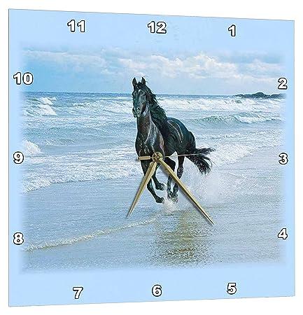 3dRose Black Horse Racing on Ocean Beach – Wall Clock, 15 by 15-Inch DPP_38919_3