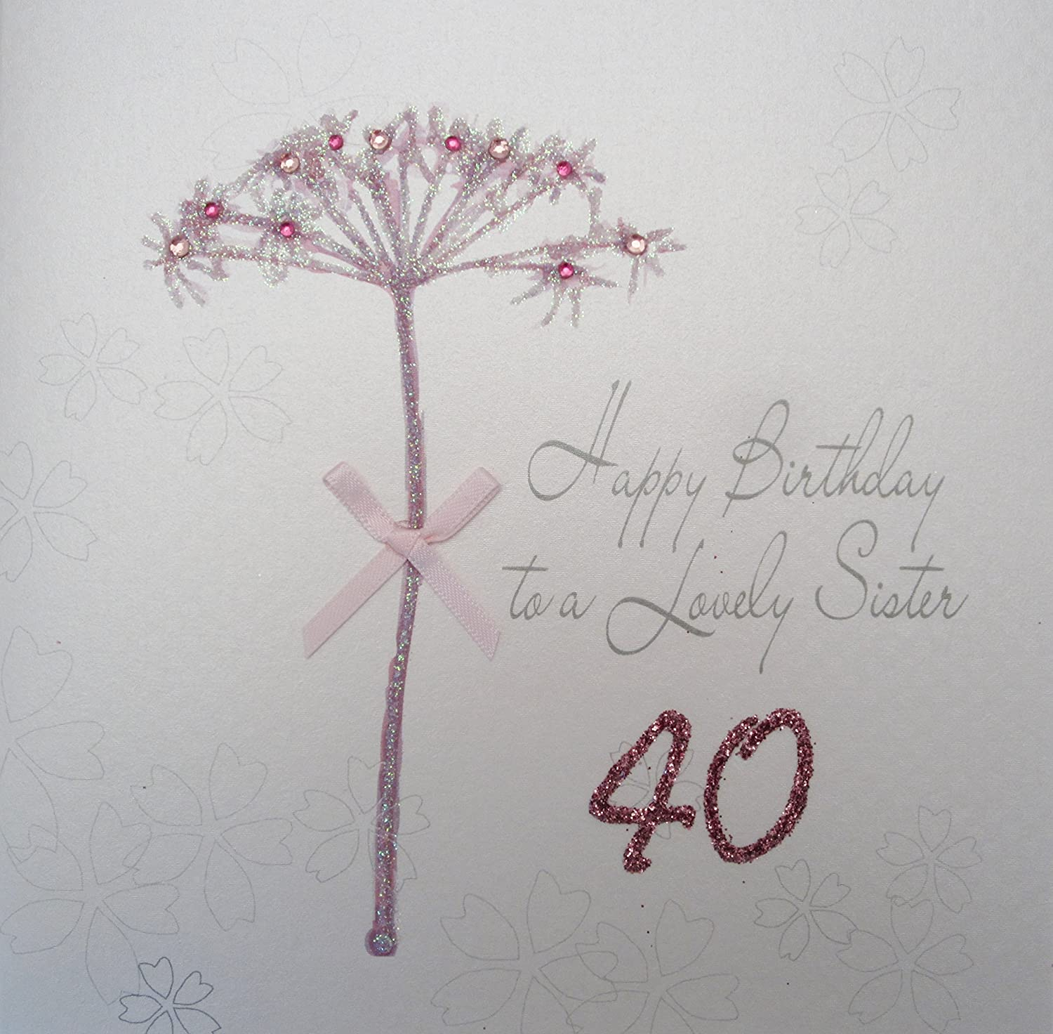 White cotton cards bd65 40 dandelion happy birthday to a lovely white cotton cards bd65 40 dandelion happy birthday to a lovely sister 40 handmade 40th birthday card white amazon kitchen home bookmarktalkfo Choice Image