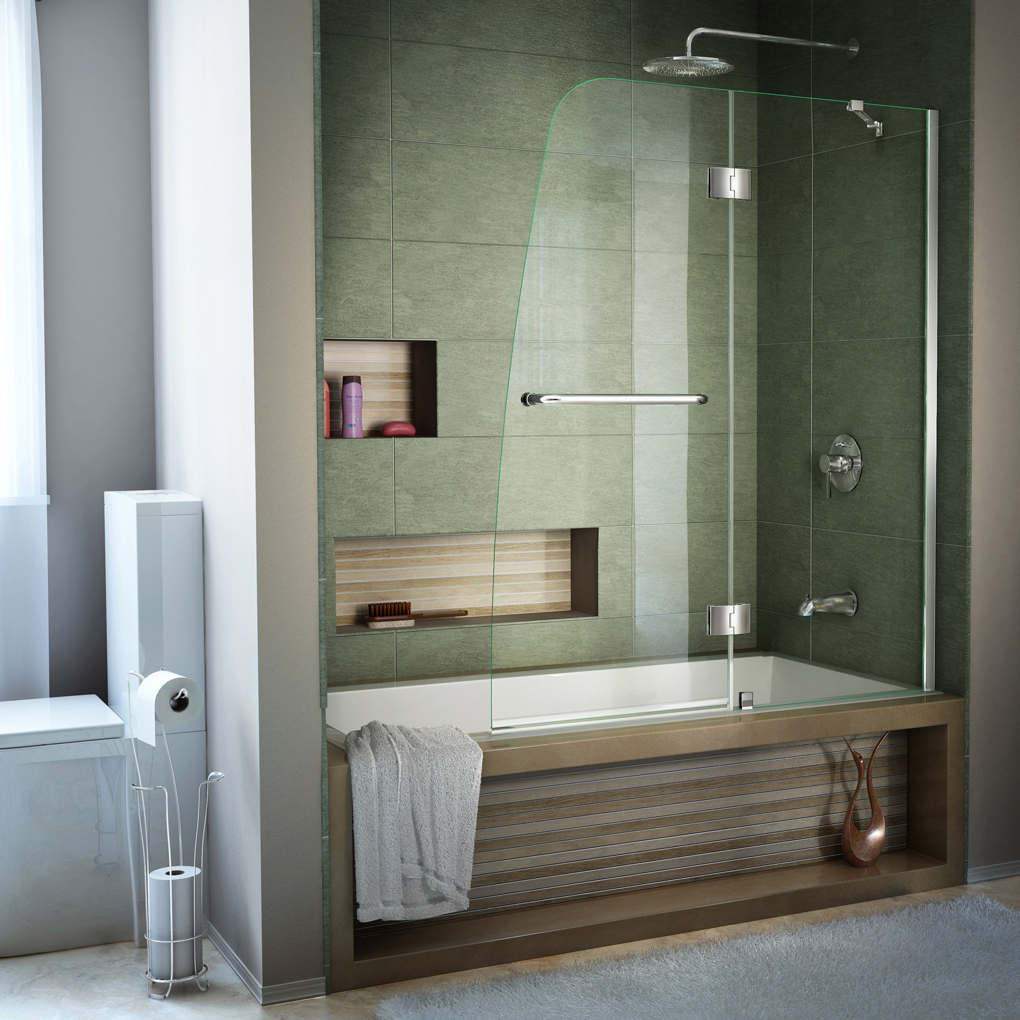 DreamLine Aqua 48 in. Width, Frameless Hinged Tub Door, 1/4'' Glass, Chrome Finish