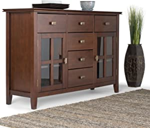 Simpli Home Artisan Solid Wood 54 inch Wide Contemporary Sideboard Buffet Credenza in Russet Brown
