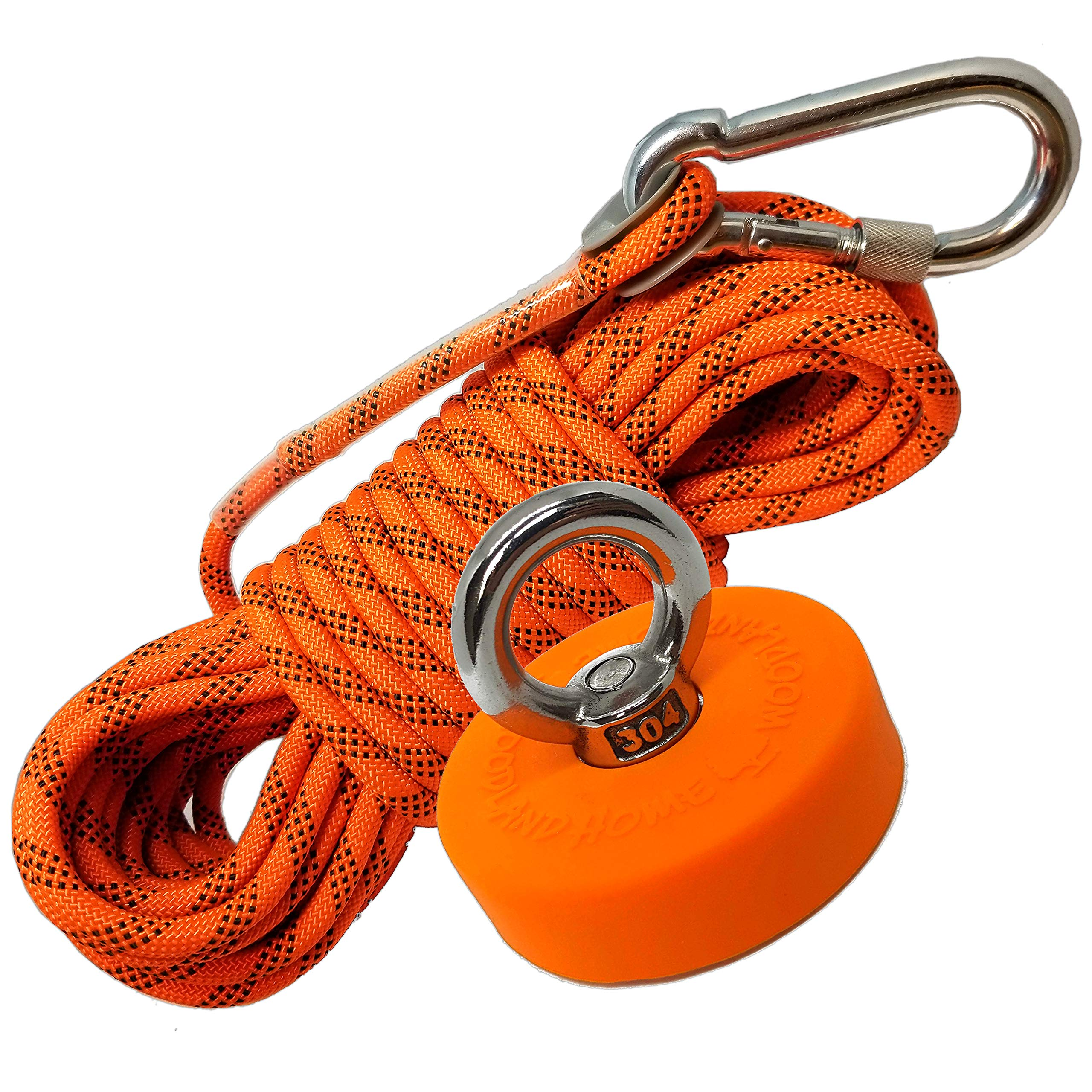 Super Strong Deluxe Fishing Magnet 330 LB & Rope Kit | Rope Over 2000 LB | Magnet 330lbs Pull Force(150KG) | Durable Orange Rubber | Neodymium Rare Earth Magnet | 2.36 inch(60 mm) for Magnet Fishing