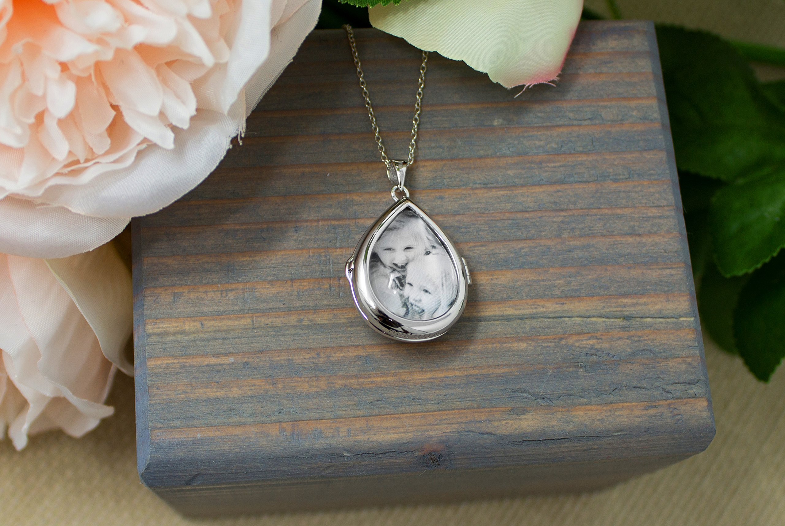 Sterling Silver-Glass-Custom Photo Locket Necklace-18-inch chain-The Sky by With You Lockets by With You Lockets (Image #5)