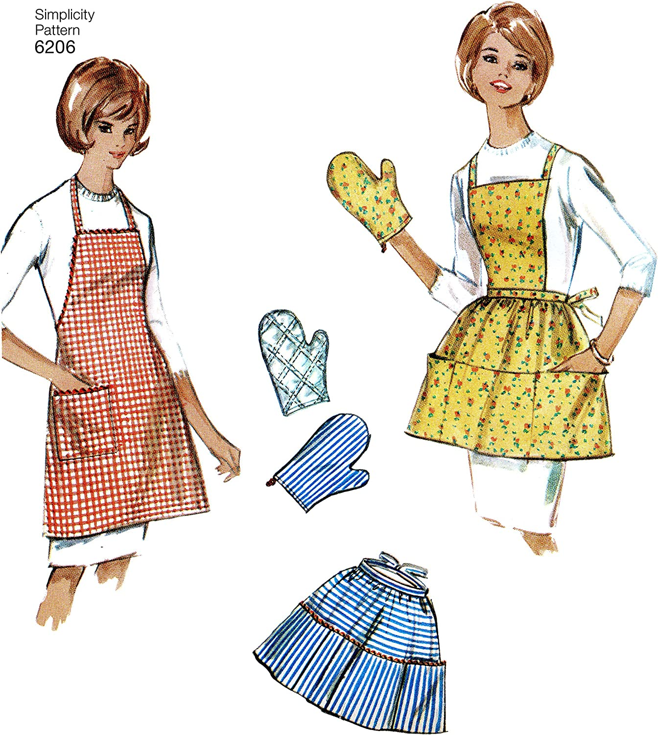 Simplicity 6206 Retro 1960s Apron Mitt Scarf Bag /& More Sewing Pattern