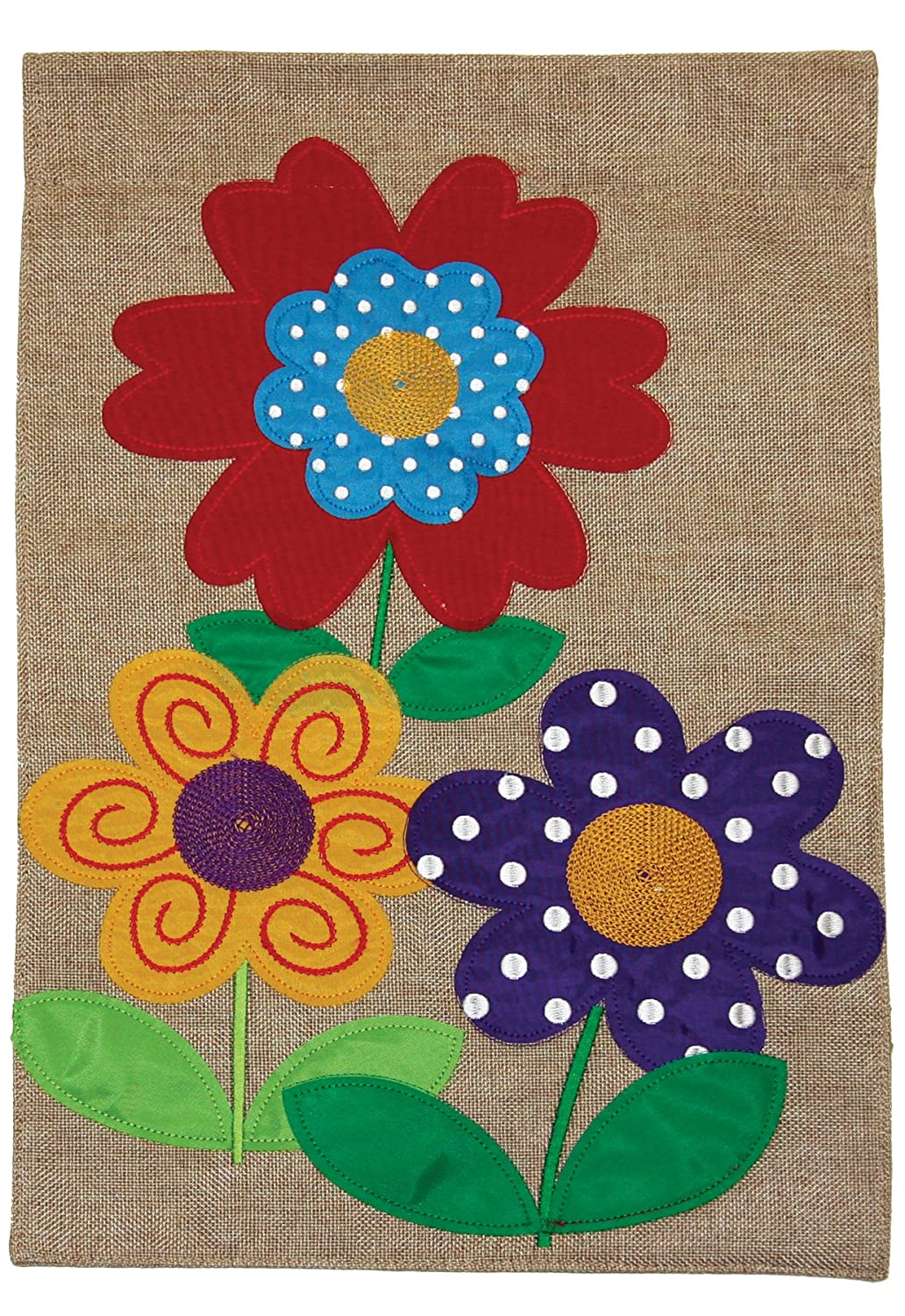 Toland Home Garden Polkadot Flowers 12 x 18 Inch Decorative Colorful Floral Spring Burlap Flag