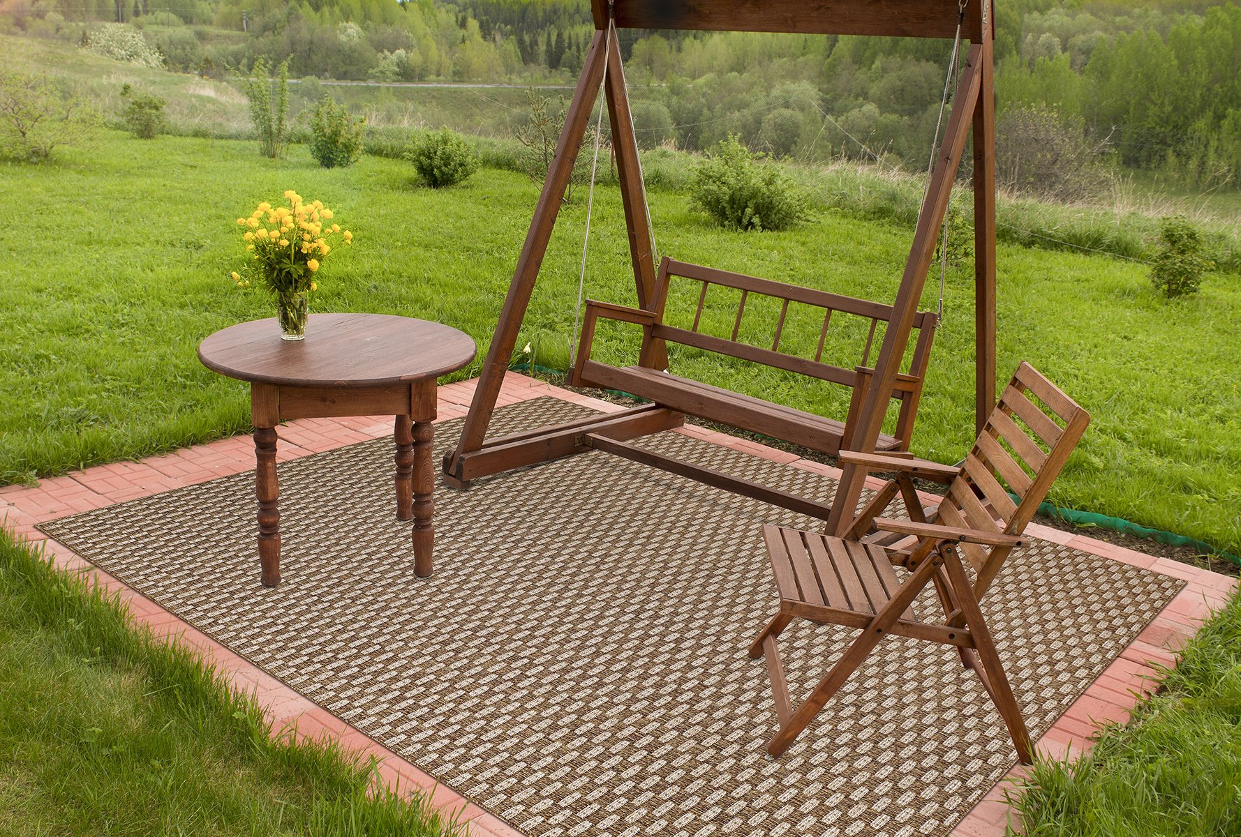 Brown Jordan Platinum Label Barnwell Collection Modern Square Outdoor Patio Rug, 9x9, Golden Brown