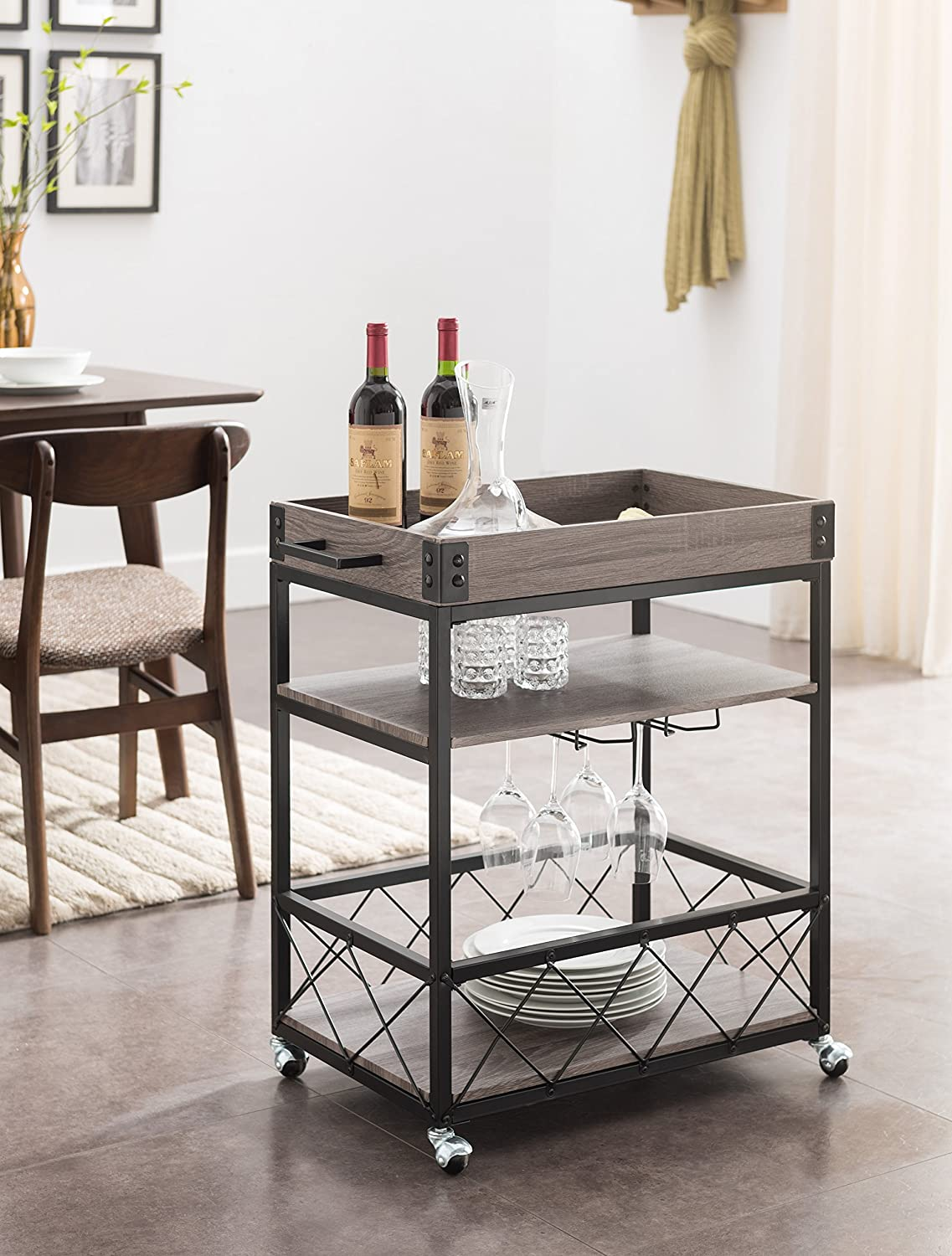 Wine Bottle Rack Serving Rolling Cart Chrome Bar Counter Cup Stand ...