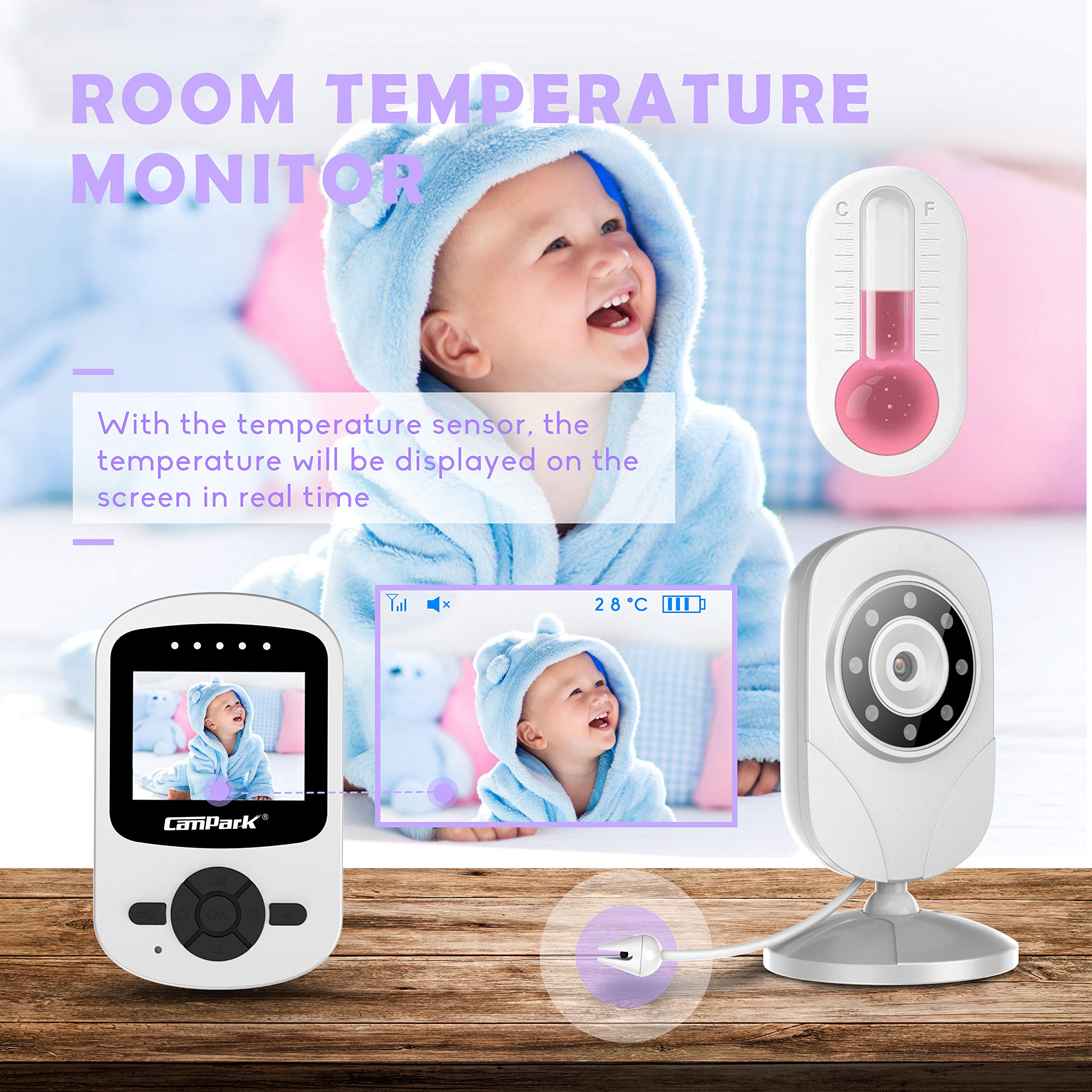 【2019 New Version】Campark Video Baby Monitor with Camera Infant Digital Cam Optics with Infrared Night Vision 2.4'' LCD 2.4GHz Wireless Transmission Two Way Talk Temperature Sensor VOX 4 in 1 Connect by Campark (Image #3)