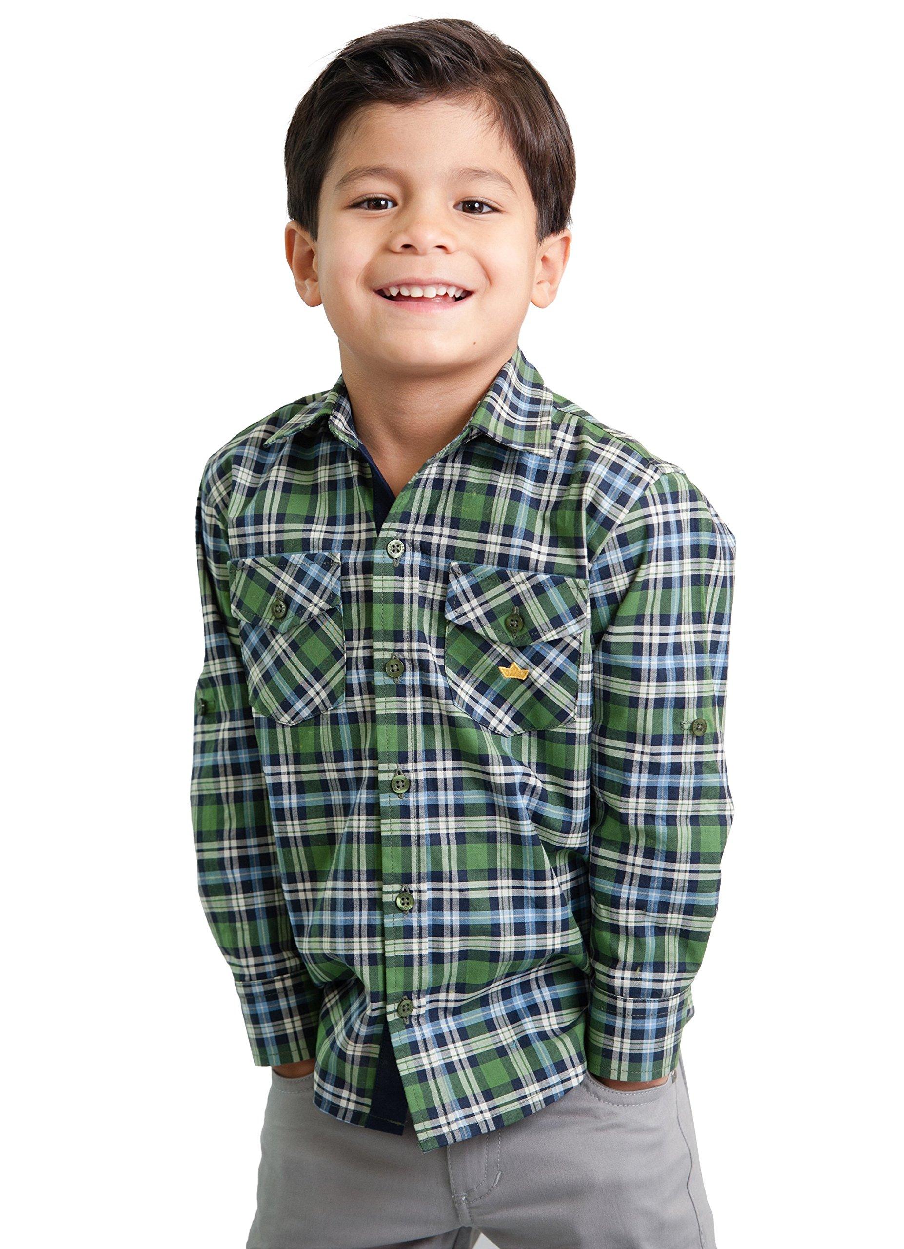 Dakomoda Toddler Boys' 100% Pima Cotton Green Shirt - Plaid Western Check Roll Up Dress Shirt 7
