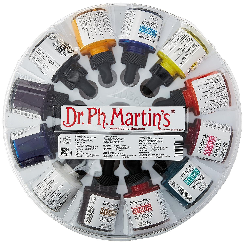 Dr. Ph. Martin's 400255-XXX Hydrus Fine Art Watercolor Bottles, 1.0 oz, Set of 12 (Set 1) Salis International Inc.