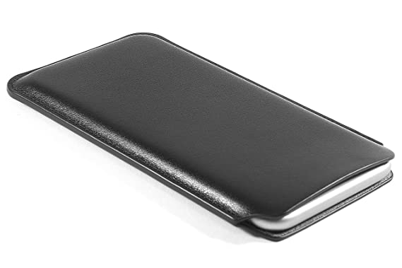 best service 8ad9e 5deef CushCase iPhone 8 / 7 / 6S / 6 Leather Case Pouch Sleeve 4.7 inch - Genuine  Leather - Black