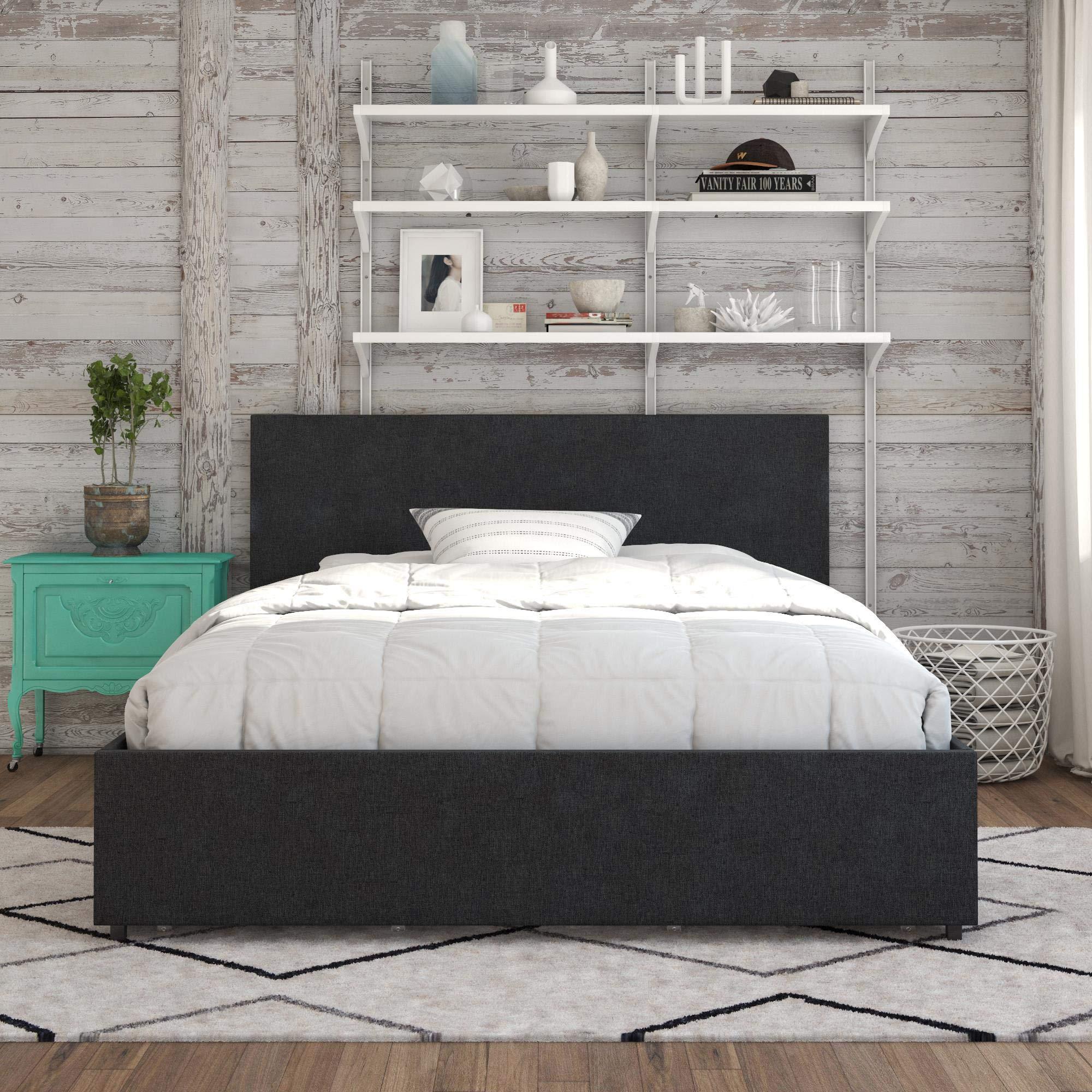 Novogratz Kelly Bed with Storage, Queen, Dark Gray Linen by Novogratz (Image #3)