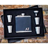 Custom Engraved Hip Flask Set, Personalized Black Leather Flasks Box Set- Groomsmen Gift- Groomsman Whiskey Gifts For Men, Rustic Customized Gold Vegan Leather Wrapped #304 Steel 6 oz - 6pc Set