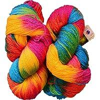 GANGA Glow Knitting Yarn Wool, Rainbow 200 gm Woolen Crochet Yarn Thread. Best Used with Knitting Needles, Crochet Needles. Vardhman Wool Yarn for Knitting. Best Woolen Thread.