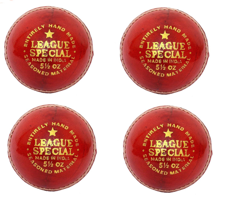CW juego de 4 Liga especial rojo pelota de Cricket (piel cosida a ...