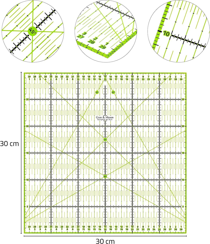 Guss /& Mason Patchwork Lineal 30x30cm mit gratis Anti Rutsch Aufklebern Transparentes Universal Lineal mit cm und Winkel-Ma/ßen