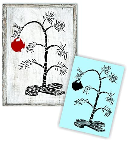 Amazoncom Charlie Brown Christmas Tree Stencil For Painting Wood
