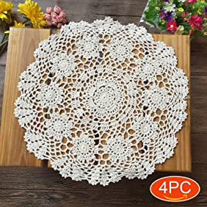 Elesa Miracle Handmade Round Crochet Cotton Lace Table Placemats Doilies Value Pack, Flower, Beige/White (4pc-16 Inch